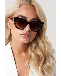 NA-KD Chunky Pointy Cat Eye Sunglasses - Marron