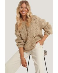 NA-KD Beige Wool Blend Round Neck Heavy Knitted Cable Jumper - Natural