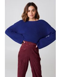 NA-KD - Cropped Long Sleeve Knitted Sweater Cobolt - Lyst