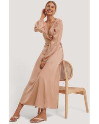 NA-KD Pink Wrap Around Maxi Dress