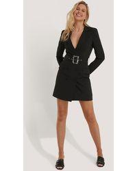 NA-KD Black Big Belted Blazer Dress