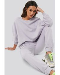 NA-KD Raw Hem Cropped Sweatshirt Purple