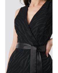 Trendyol Belted Detailed Animal Midi Dress - Zwart