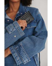NA-KD Black Woven Look Cardholder