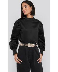 NA-KD Black Oversized Puff Sleeve Blouse