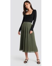 NA-KD Pleated Long Skirt - Groen