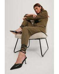 NA-KD Shoes Schuine Stilettopumps Met Veters - Zwart