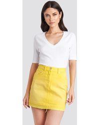 NA-KD High Waist Denim Mini Skirt - Jaune