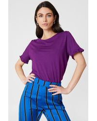 NA-KD - Frill Tee Strong Purple - Lyst