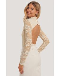 NA-KD Beige Open Back Lace Body - Natural