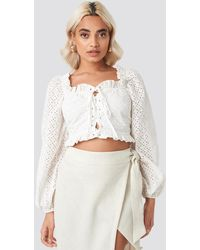 NA-KD White Broderie Anglais Crop Top