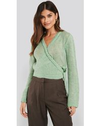 NA-KD Overlap Rib Detail Knitted Sweater - Groen