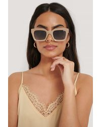 NA-KD Beige Square Frame Sunglasses - Natural