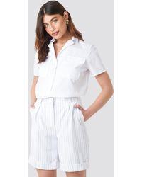 NA-KD High Waist Striped Shorts - Blanc
