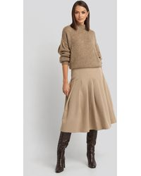 NA-KD Tailored Pleated Midi Skirt - Naturel