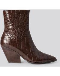 NA-KD Croc Western Heel Pointy Boots Brown