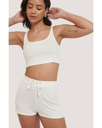 NA-KD Offwhite Ribbed Lounge Cropped Shorts - Multicolor