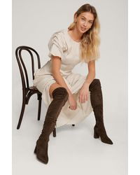 NA-KD Brown Faux Suede Overknee Boots - Green