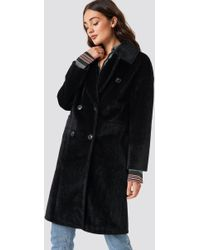 NA-KD - Hairy Double Breasted Coat - Lyst