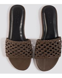 NA-KD Brown Braided Slip In Sandals