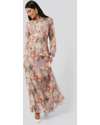 NA-KD Flower Printed Midi Dress - Meerkleurig