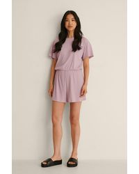 NA-KD Lingerie Recycelter Gerippter Weicher Playsuit - Lila