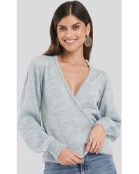 NA-KD Overlap Puff Sleeve Knitted Sweater - Grijs