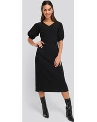 NA-KD Textured Midi Dress - Zwart