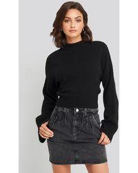 NA-KD Front Pleat Short Denim Skirt - Zwart