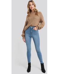NA-KD Super High Waist Skinny Jeans - Blau