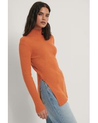 NA-KD Knitted Side Slit Sweater - Oranje