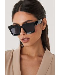 NA-KD Black Big Squared Edge Sunglasses