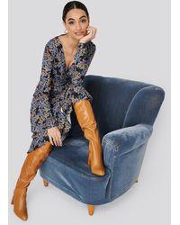 Trendyol Patterned Wrap Maxi Dress - Blauw