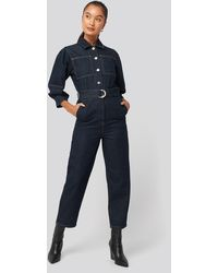 NA-KD Puff Sleeve Jumpsuit - Blauw