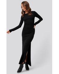 NA-KD Scoop Back Long Sleeve Maxi Dress - Zwart