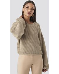 NA-KD Cropped Boat Neck Knitted Sweater - Natur