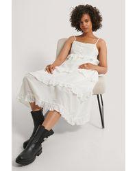 NA-KD Maxi-jurk Met Volants - Wit
