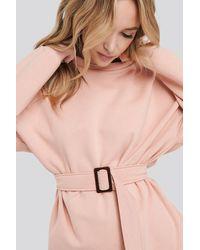 NA-KD Belted Sweatshirt Pink