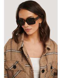 NA-KD Big Retro Square Sunglasses - Bruin