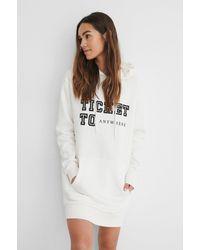 NA-KD Offwhite Printed Oversized Hoodie Dress