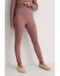 NA-KD Lingerie Recycelte sanfte Ripp-Strumpfhose mit hoher Taille - Pink