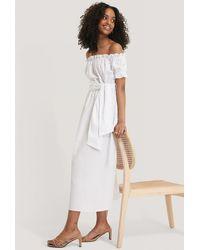 Glamorous Bardot Tie Waist Midi Dress - Wit
