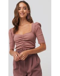 NA-KD Puff Sleeve Ruched Top - Pink