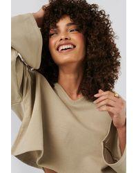 NA-KD Basic Cropped V Neck Oversized Sweater - Natur