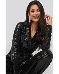 NA-KD Sequin Belted Blazer - Zwart