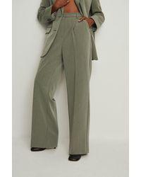 NA-KD Trend Pantalon de costume lourd avec taille haute - Vert