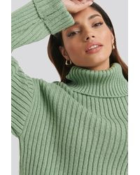 NA-KD Ribbed Knitted Turtleneck Sweater - Vert