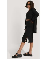 NA-KD Black Rib Slit Skirt