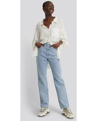 NA-KD Blue Highwaist Straight Jeans