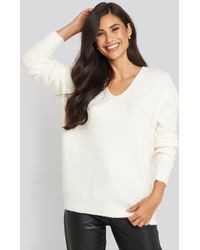 NA-KD Oversized V Neck Knitted Sweater - Multicolore